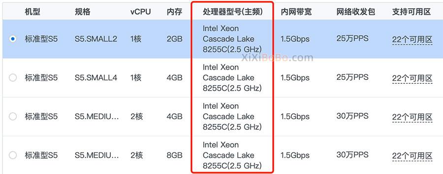 腾讯云Intel Xeon Cascade Lake 8255C(2.5 GHz)处理器性能评测
